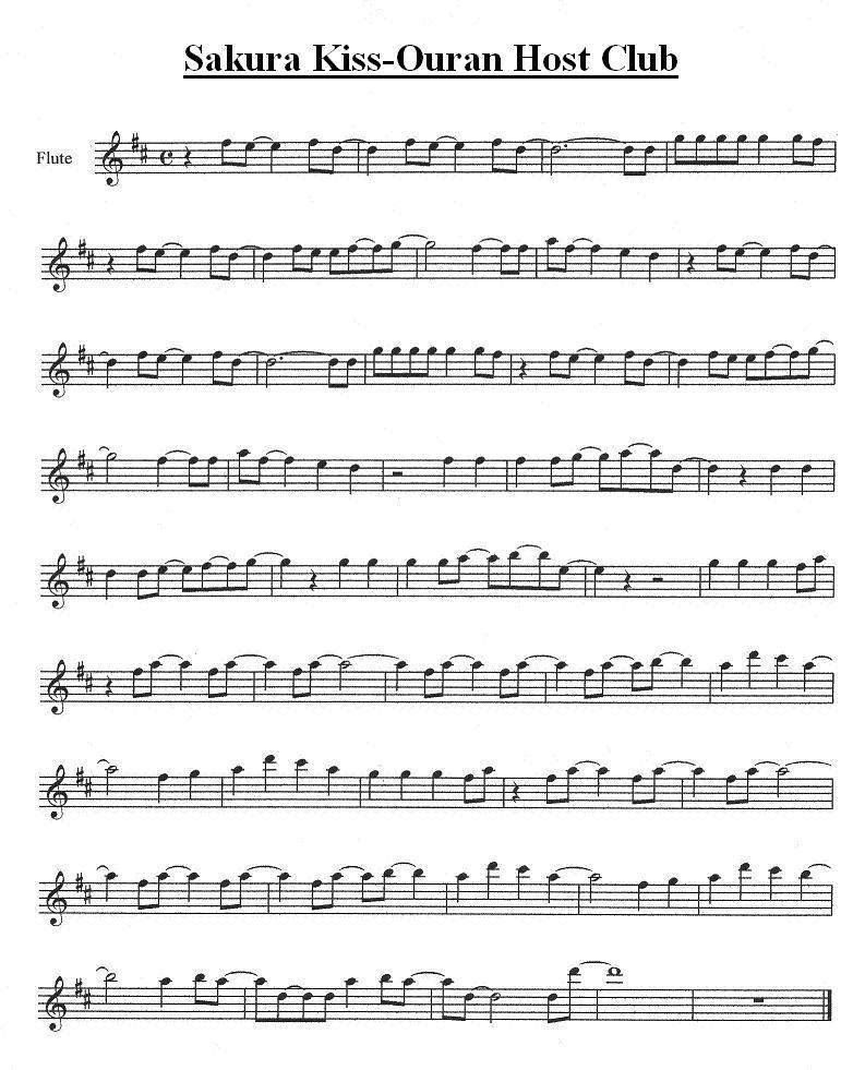 All Music Chords anime sheet music : Sakura Kiss for Flute by tsuki50 on DeviantArt