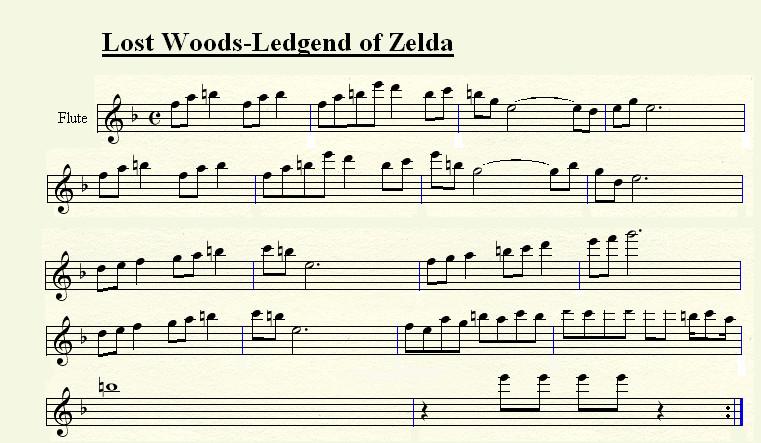 Legend of zelda lost woods flute sheet music