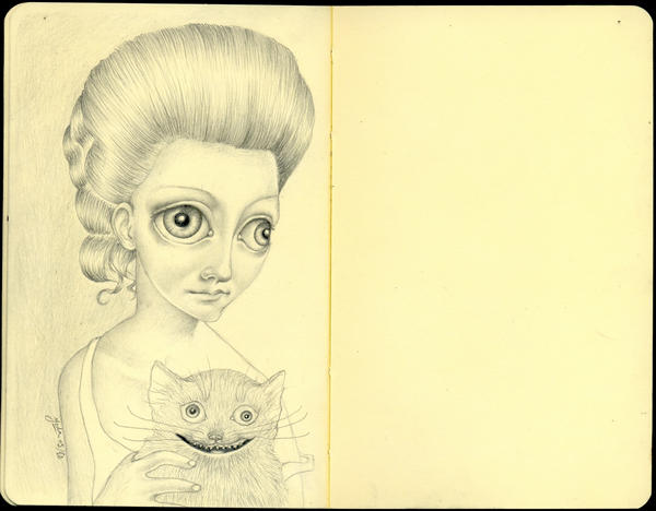 Girl With Crazy Cat by LadyOrlandoArt