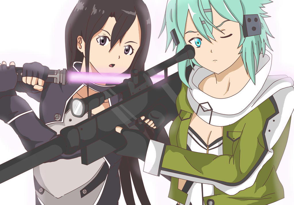 Sword art online 2 sinon and kirito close up by fatmong on