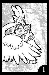 Winged Felines Coloring Book: Page 1