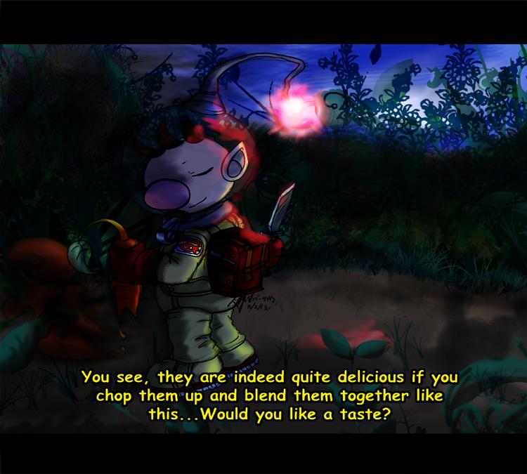 Pikmin: (Mock) Anime Screenshot -The Night Juicer- by saiiko