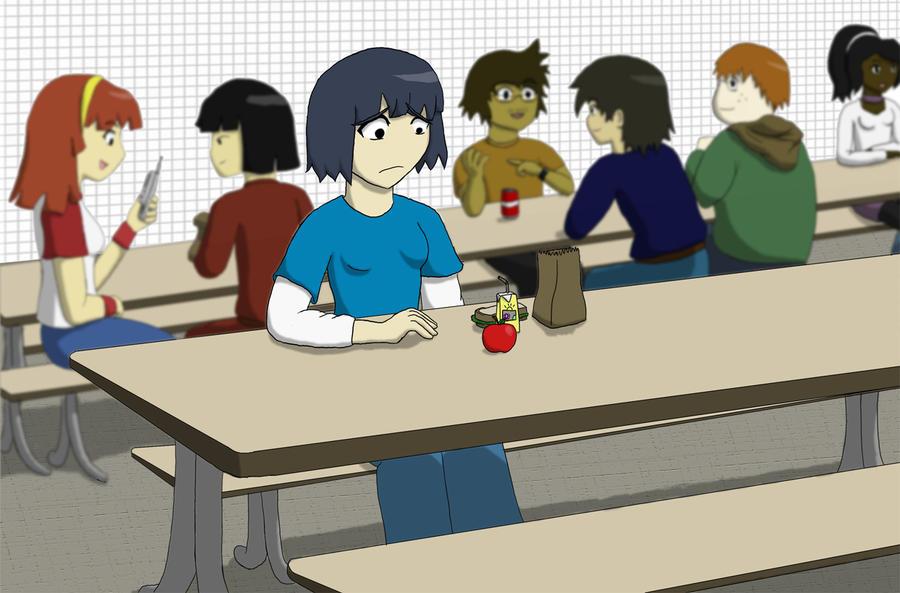 Sitting alone by brett neufeld on deviantart - Cartoon girl sitting alone ...