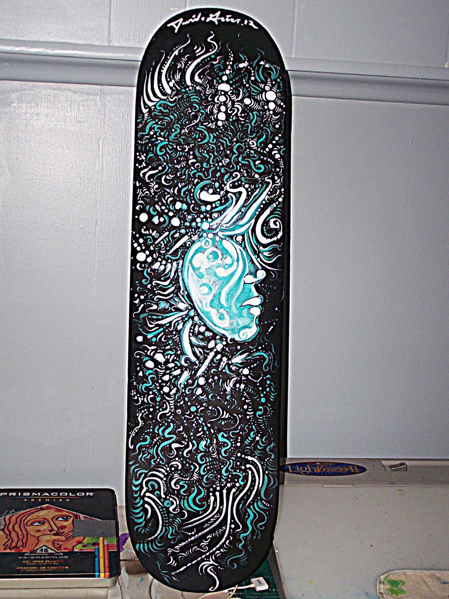 Skateboard deck painting by davidgrice on deviantart for Best paint for skateboard decks