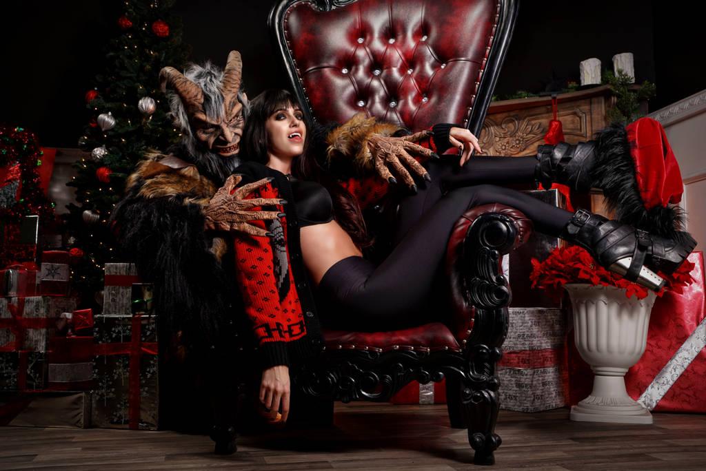 Miss Clausferatu and Krampus by AshleyShyD
