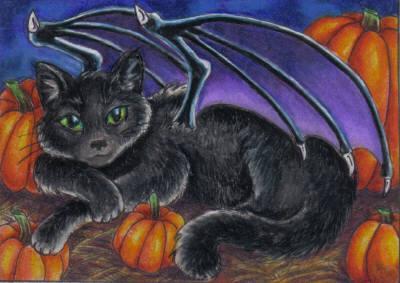 Black Bat Cat ACEO by stephanielynn