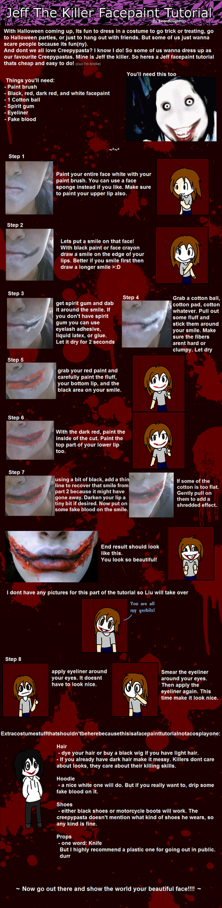 Epic Jeff the killer facepaint tutorial by SwordKnight131
