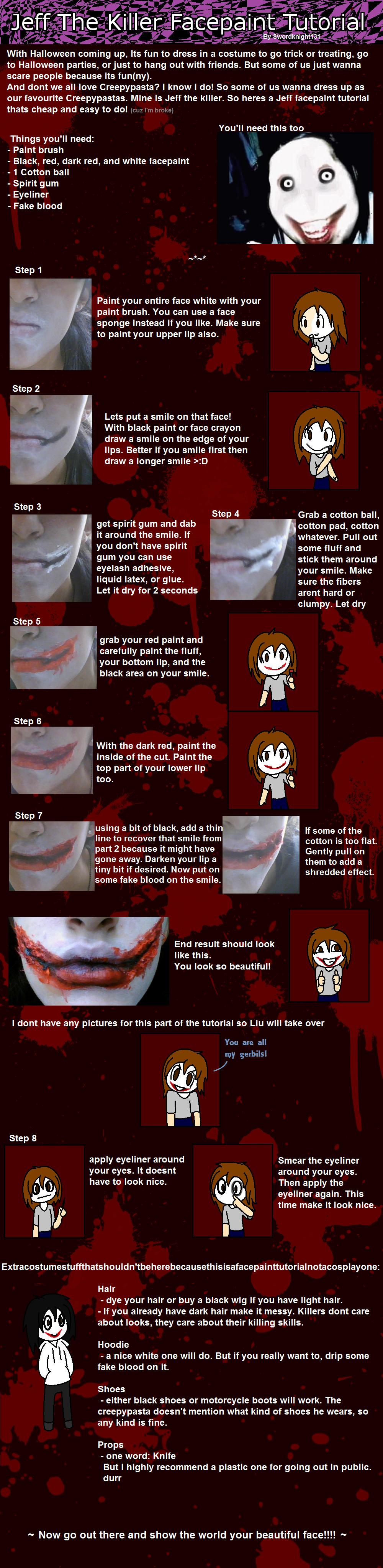 Epic Jeff the killer facepaint tutorial by SwordKnight131