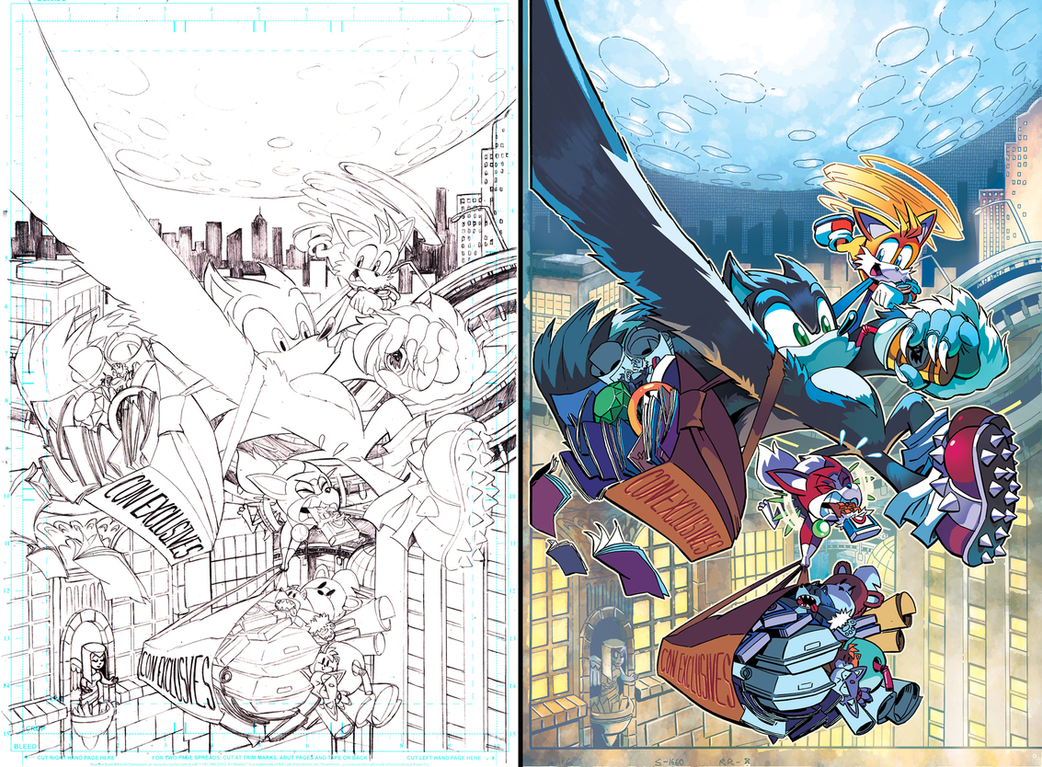 Sonic The Hedgehog 265 Convention Variant Pencils by Nerfuffle