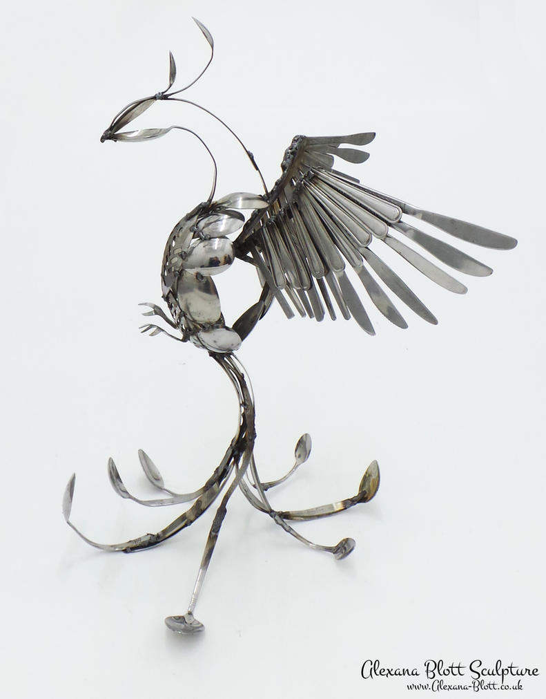 Stunning OOAK Cutlery Phoenix FOR SALE by Alexana-Sculpture