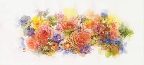 Cottage roses by isletree