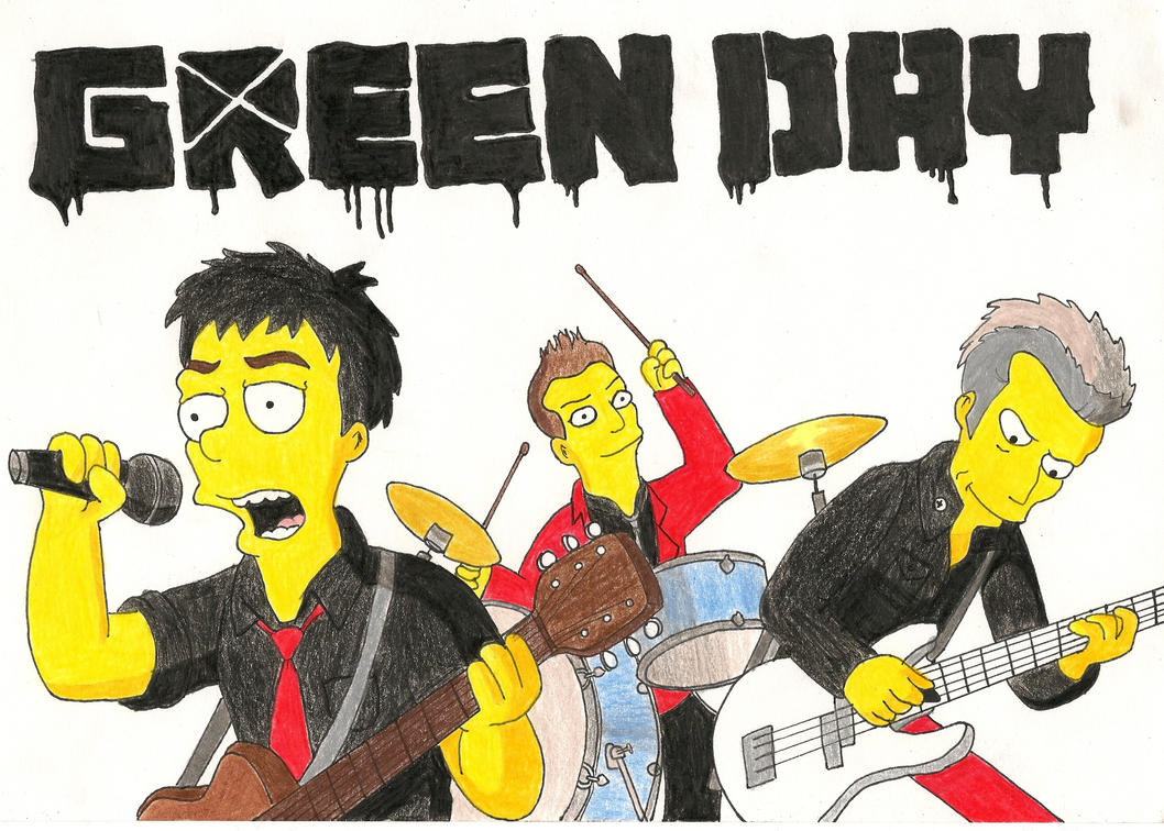 Green Day as The Simpsons by RadioactivePencil on DeviantArt