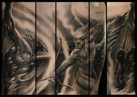 angel vs demon tattoo by Remistattoo