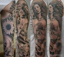 venus tattoo sleeve by Remistattoo