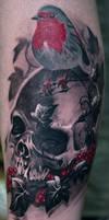 skull robin bird tattoo by Remistattoo