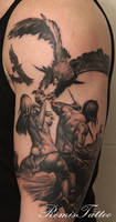 warrior girl eagle tattoo