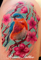 blue bird cherry blossom tatto by Remistattoo