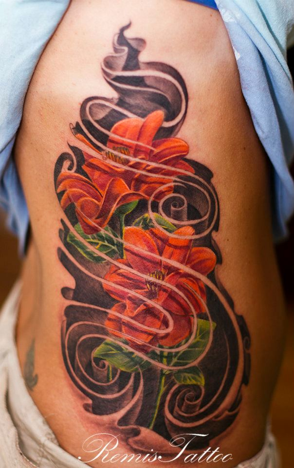 color flowers tattoo
