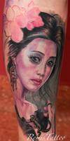 realistic portrait tattoo girl with lizard
