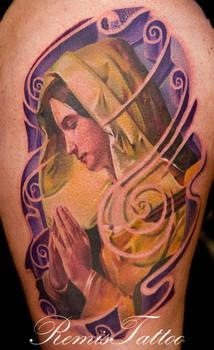 color virgin mary tattoo