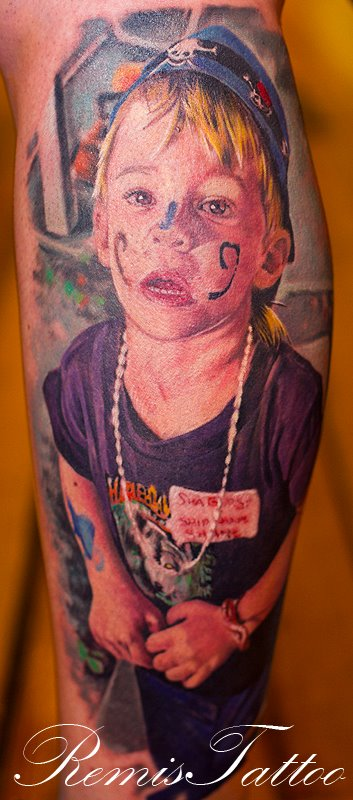 realistic portrait tattoo of kid by Remistattoo