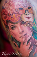 color realistic portrait tattoo by Remistattoo