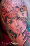 color realistic portrait tattoo