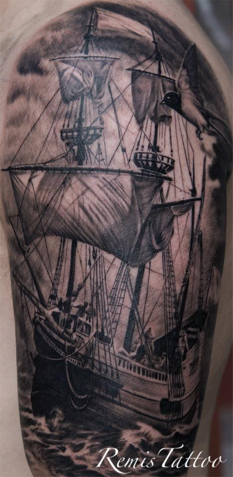 Black and grey ship tattoo by remistattoo