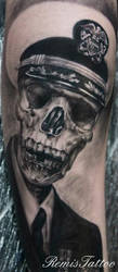 black and grey skull portrait tattoo 4 by Remistattoo
