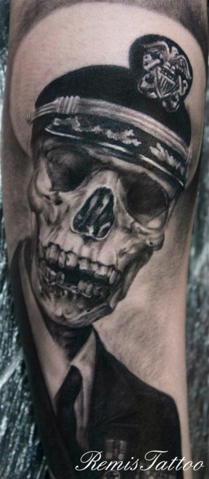 Black and grey skull portrait tattoo 4 by remistattoo on for Black and grey tattoo artists