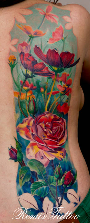 realistic color tattoo of flowers