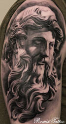 Religious Statues Tattoo Black And Grey