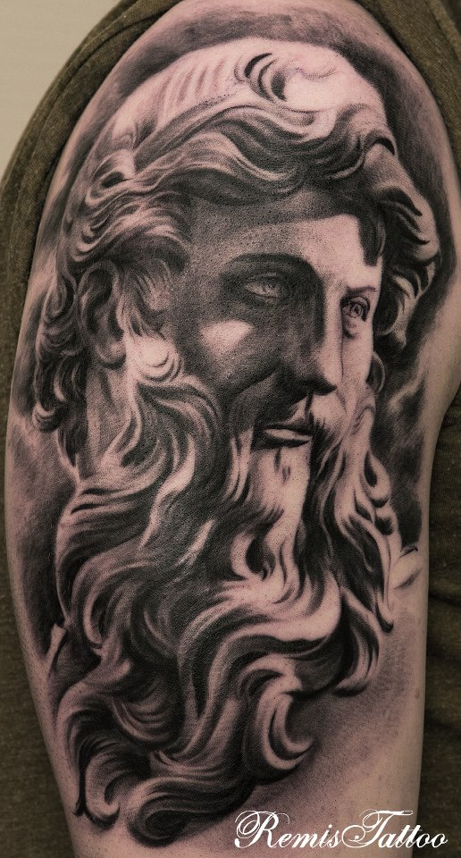 Religious Statues Tattoo Black And Grey by Remistattoo