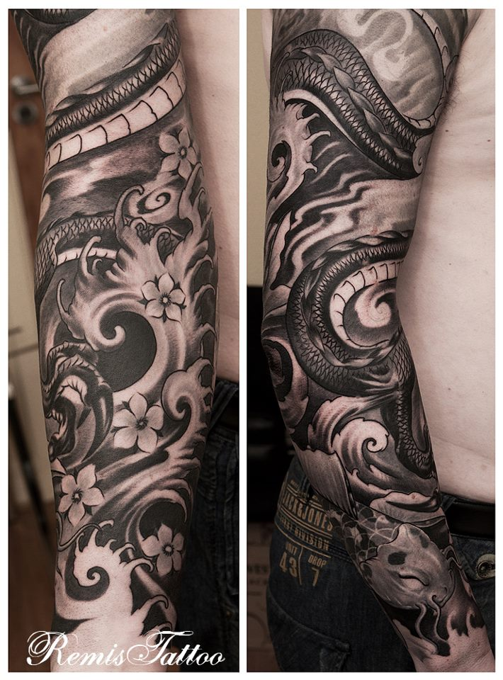 Japanese Sleeve Tattoo Black And Grey