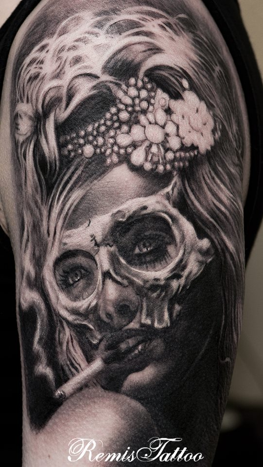 day of the dead tattoo sugar girl tattoo by remistattoo on deviantart. Black Bedroom Furniture Sets. Home Design Ideas