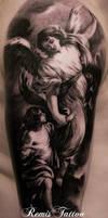 Black And Agrey Religios Tattoo