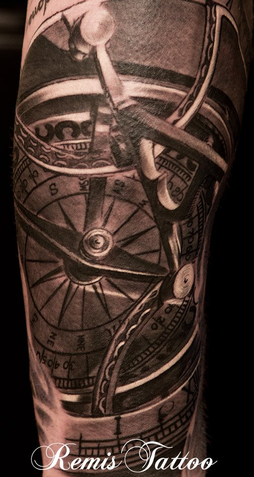 sundial compass tattoo by remistattoo on deviantart. Black Bedroom Furniture Sets. Home Design Ideas
