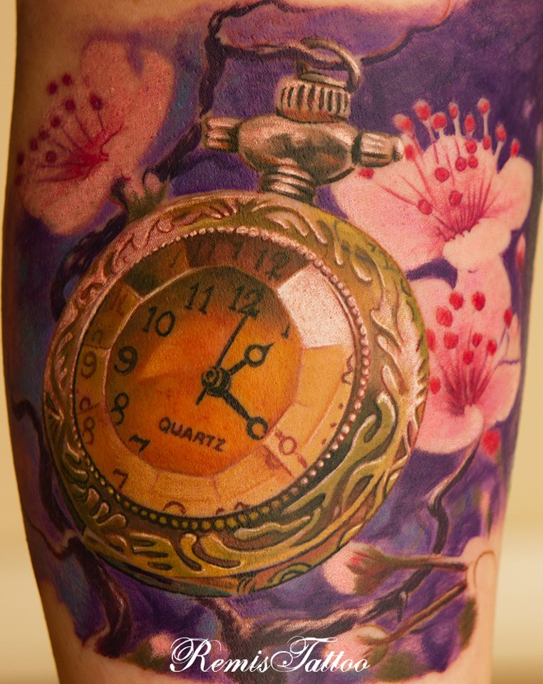 Relistic tattoo old pocket watch by remistattoo on deviantart for Pocket watch tattoo design