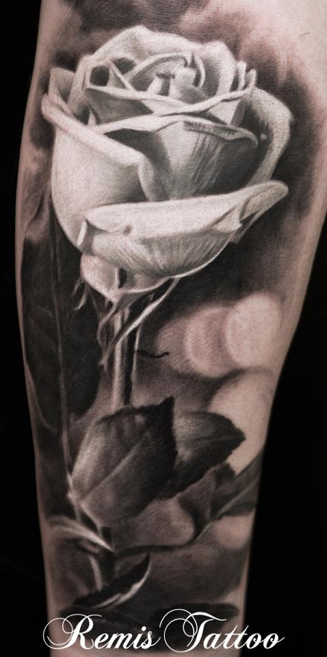 Realistic Single Rose Tattoo: Realistic Black And Grey Rose Tattoo By Remistattoo On