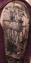 Tall Ships Skull Tattoo Black And Grey