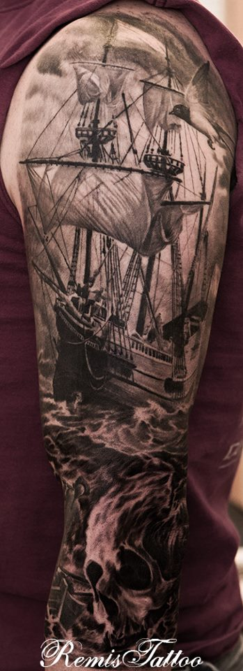 tall ships skull tattoo black and grey by remistattoo on deviantart. Black Bedroom Furniture Sets. Home Design Ideas