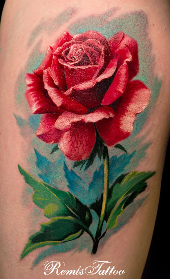 Realistic Single Rose Tattoo: Realistic Rose Tattoo Color By Remistattoo On DeviantArt