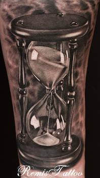 hourglass tattoo black and grey