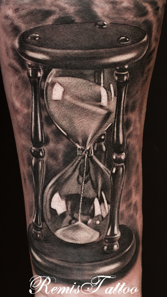 Hourglass tattoo black and grey by remistattoo on deviantart