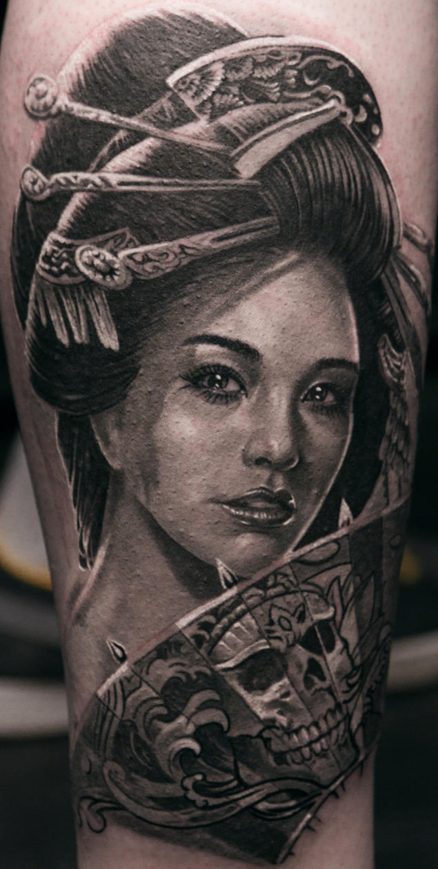Realistic Geisha Tattoo Black and White by Remistattoo