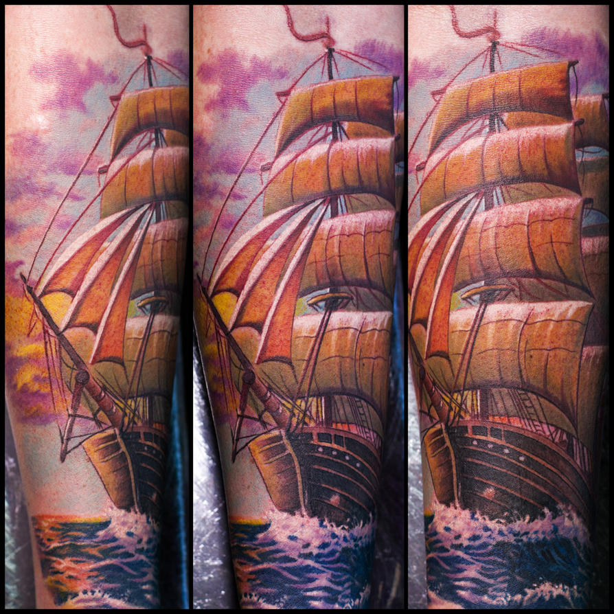 Colored Ship Tattoo by Remistattoo