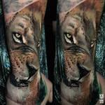 Realistic Colored Lion Tattoo