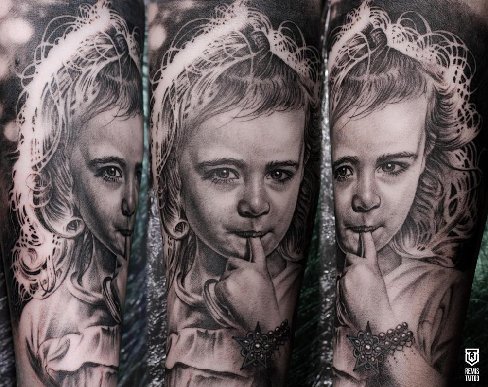 Realistic Girl Portrait Tattoo by Remistattoo
