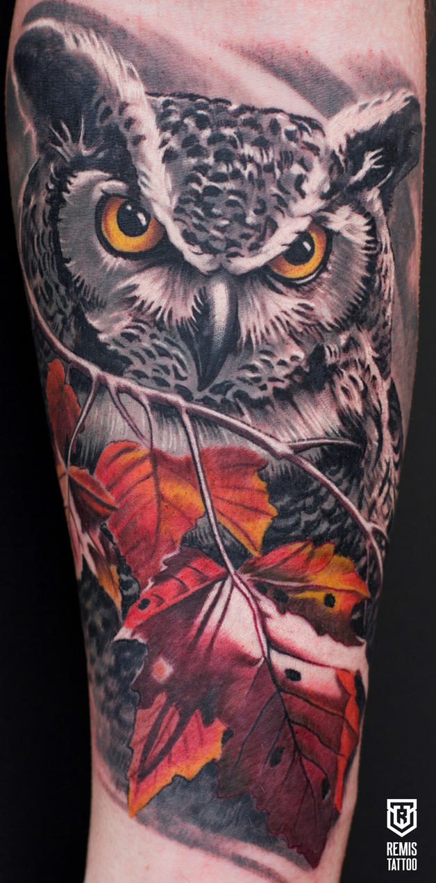 Colored Owl Tattoo by Remistattoo