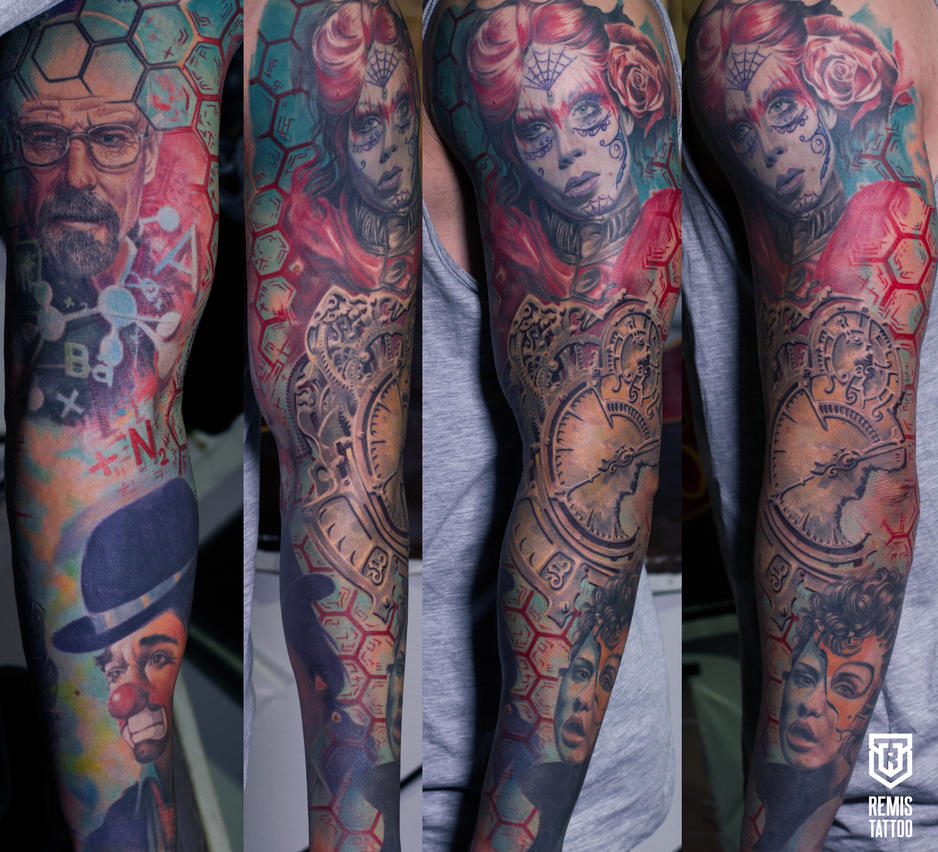 Colored Full Sleeve Tattoo by Remistattoo